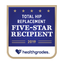 Award logo for Five-Star Recipient for Total Hip Replacement 2019