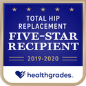 Award logo for Five-Star Recipient for Total Hip Replacement for 2 Years in a Row (2019-2020)