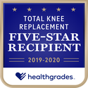 Award logo for Five-Star Recipient for Total Knee Replacement for 2 Years in a Row (2019-2020)